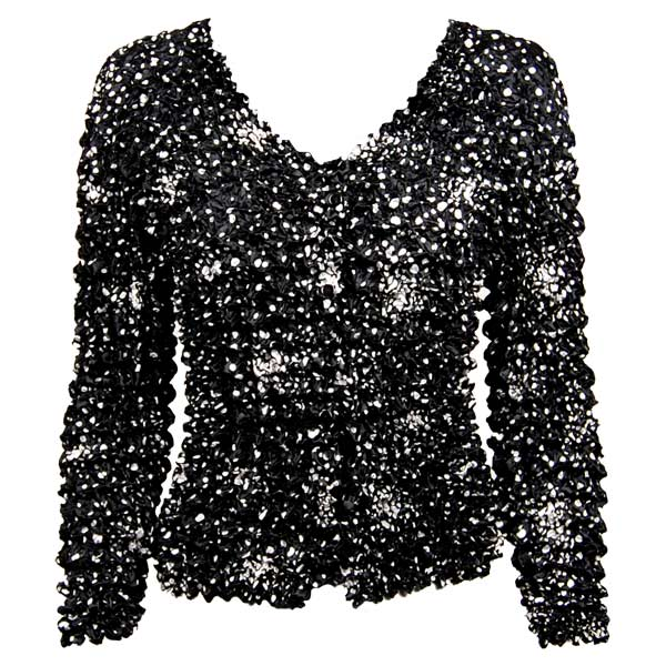 Wholesale Gourmet Popcorn - Collarless Cardigan Abstract Dots Black-White - One Size (S-XL)
