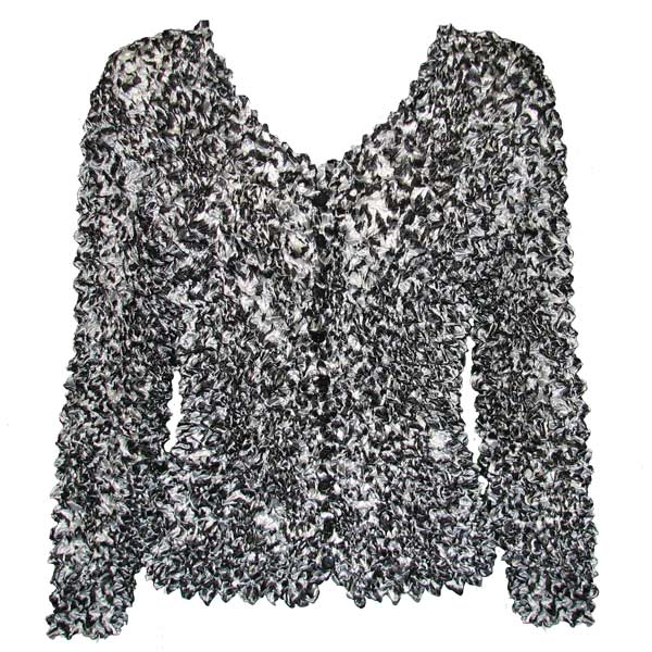 Wholesale Gourmet Popcorn - Collarless Cardigan Leopard Black-White  - One Size (S-XL)