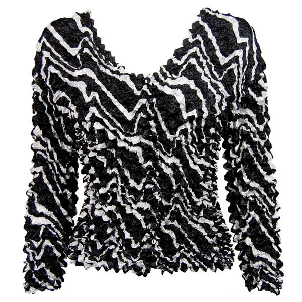 Wholesale Gourmet Popcorn - Collarless Cardigan Ribbon Black-White - One Size (S-XL)