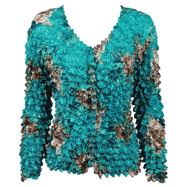 Wholesale Gourmet Popcorn - Collarless Cardigan Taupe on Teal - One Size (S-XL)