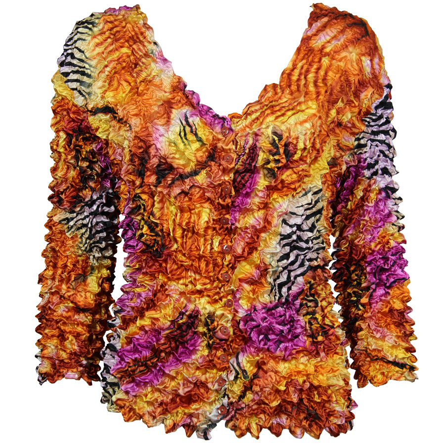 Wholesale Gourmet Popcorn - Collarless Cardigan Abstract Zebra Orange - Pink - One Size (S-XL)
