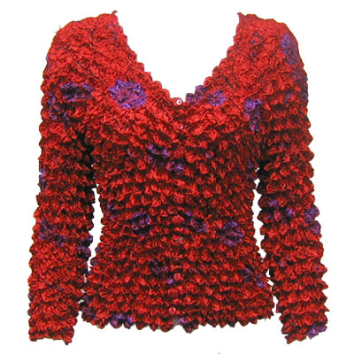 Wholesale Gourmet Popcorn - Collarless Cardigan Red Garden - One Size (S-XL)