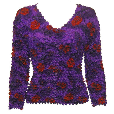 Wholesale Red Hatters Selections Popcorn - Gourmet Cardigan Collarless Purple Garden - One Size (S-XL)