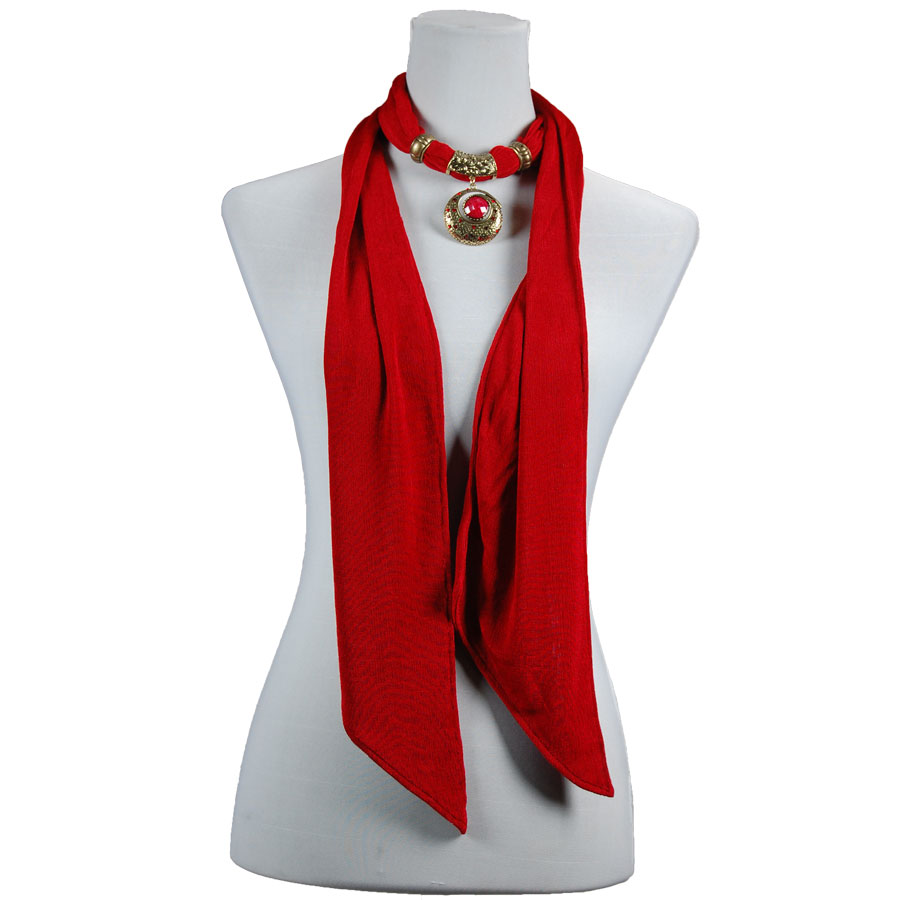 Wholesale Red Hatters Selections Scarf - Magic Slinky w/ Pendant - Red -