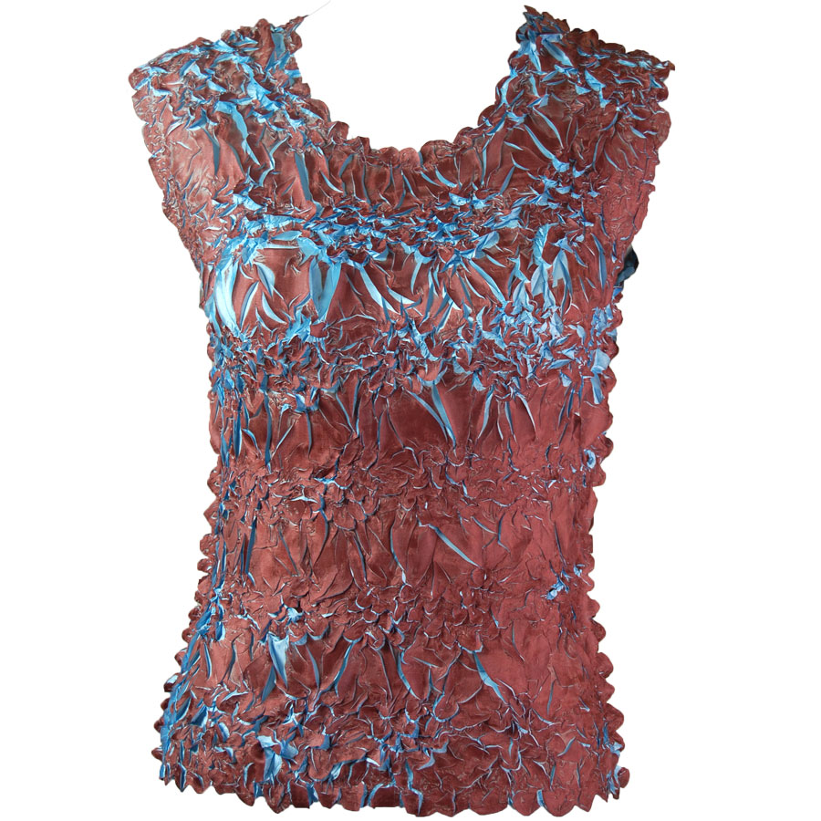 Wholesale Origami - Sleeveless Brown - Sky Blue - Queen Size Fits (XL-3X)