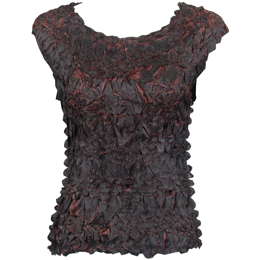 Wholesale Origami - Sleeveless Black - Brown - Queen Size Fits (XL-3X)