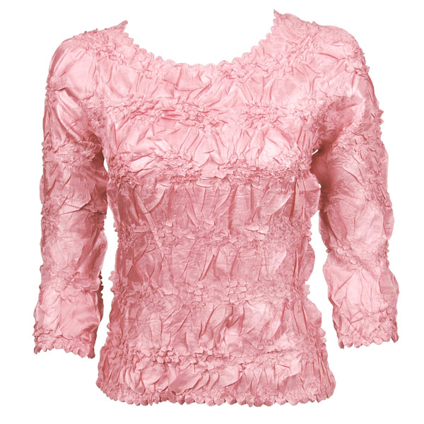 Wholesale Origami - Three Quarter Sleeve Solid Light Pink - One Size (S-XL)