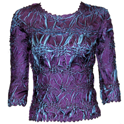 Wholesale Origami - Three Quarter Sleeve Purple - Turquoise - Queen Size Fits (XL-3X)