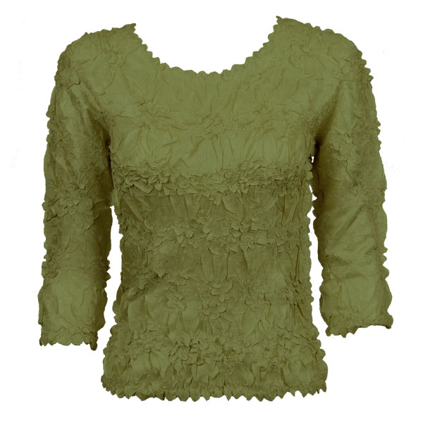 Wholesale Origami - Three Quarter Sleeve Solid Olive - Queen Size Fits (XL-3X)