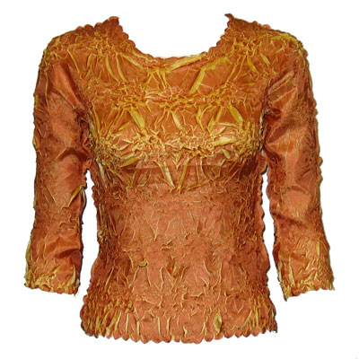 Wholesale Origami - Three Quarter Sleeve Pumpkin - Gold - Queen Size Fits (XL-3X)