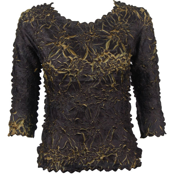 Wholesale Origami - Three Quarter Sleeve Black - Gold - Queen Size Fits (XL-3X)