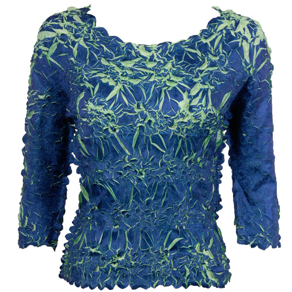 Wholesale Origami - Three Quarter Sleeve Navy - Light Green - One Size (S-XL)