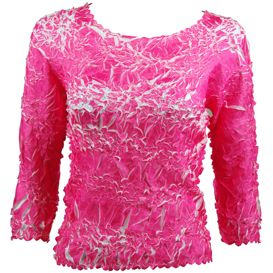 Wholesale Origami - Three Quarter Sleeve Hot Pink - White - Queen Size Fits (XL-3X)