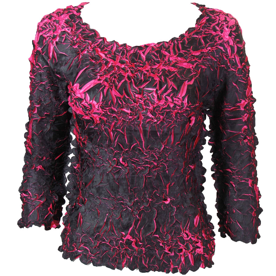 Wholesale Origami - Three Quarter Sleeve Black - Hot Pink - One Size (S-XL)