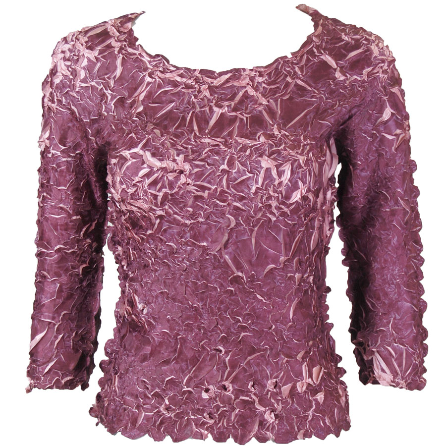 Wholesale Origami - Three Quarter Sleeve Wine - Dusty Pink - Queen Size Fits (XL-3X)