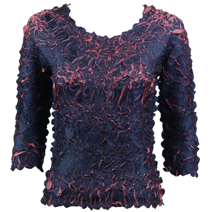 Wholesale Origami - Three Quarter Sleeve Dark Blue - Coral Pink - Queen Size Fits (XL-3X)