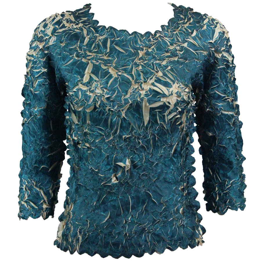 Wholesale Origami - Three Quarter Sleeve Deep Teal - Light Gold - Queen Size Fits (XL-3X)