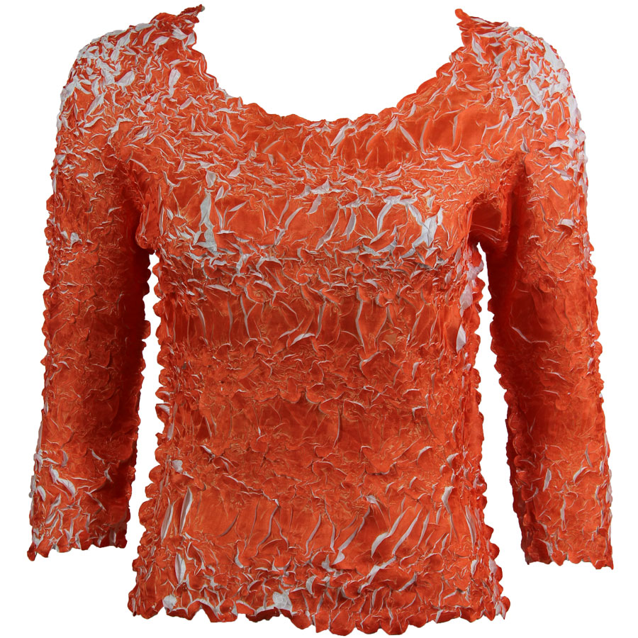 Wholesale Origami - Three Quarter Sleeve Orange - White - Queen Size Fits (XL-3X)