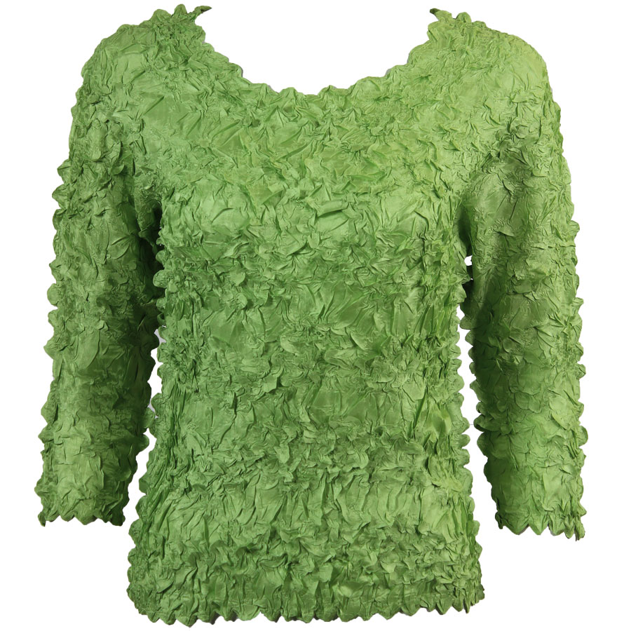 Wholesale Origami - Three Quarter Sleeve Solid Light Green - Queen Size Fits (XL-3X)