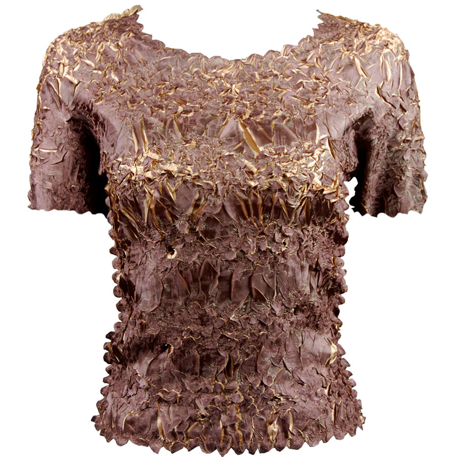 Wholesale Origami - Short Sleeve Dark Taupe - Champagne - Queen Size Fits (XL-3X)