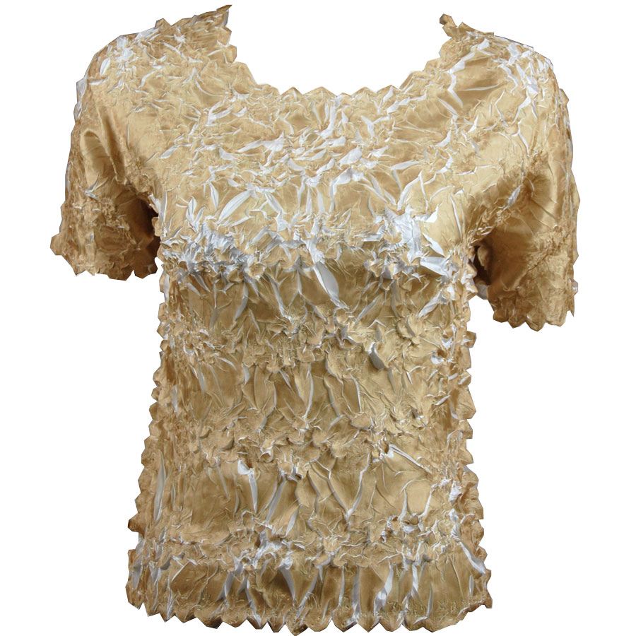 Wholesale Origami - Short Sleeve Light Gold - White - Queen Size Fits (XL-3X)