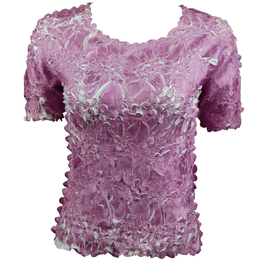 Wholesale Origami - Short Sleeve Grape - White - Queen Size Fits (XL-3X)