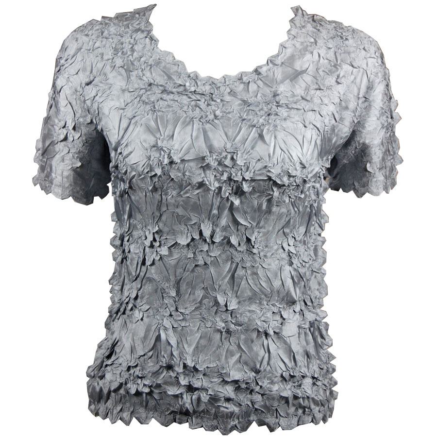 Wholesale Origami - Short Sleeve Solid Silver - Queen Size Fits (XL-3X)