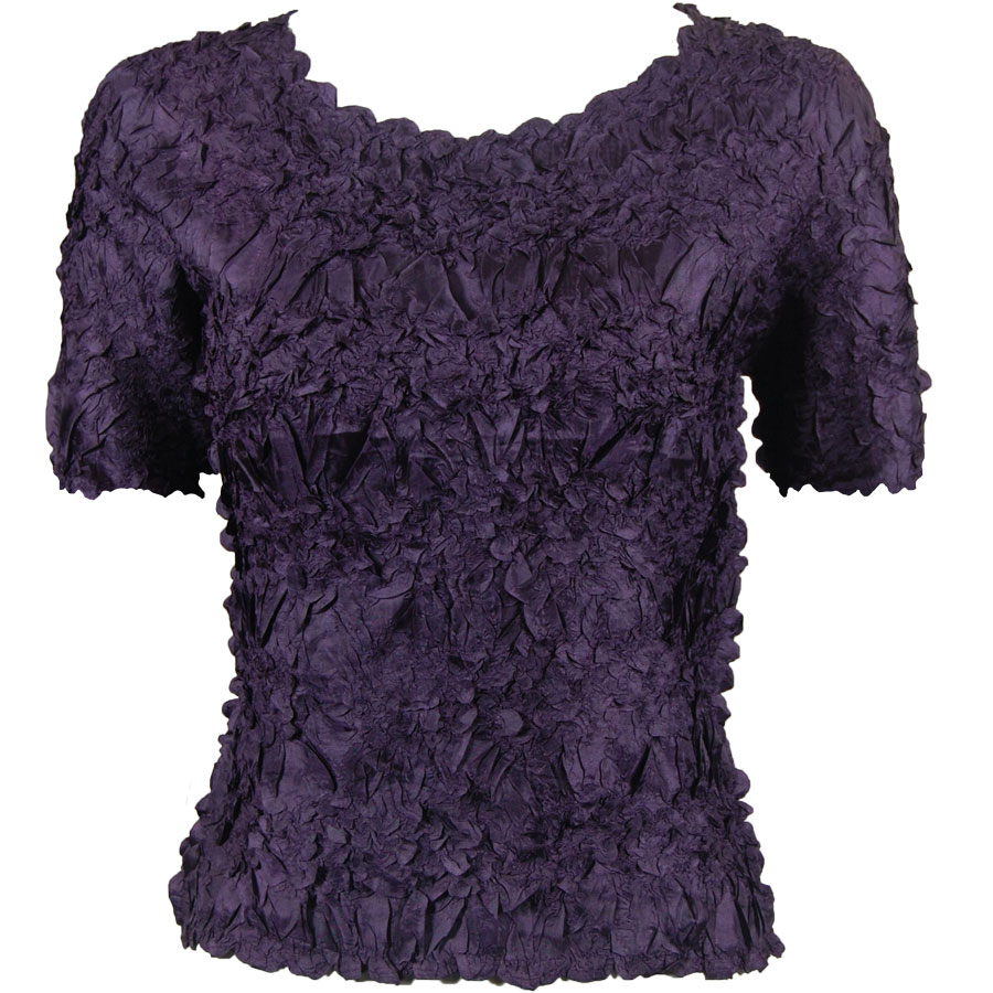 Wholesale Origami - Short Sleeve Solid Plum - One Size (S-XL)