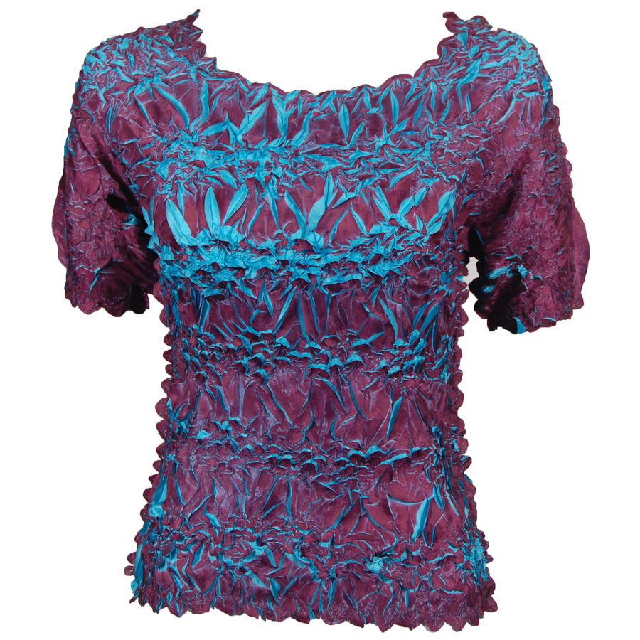 Wholesale Origami - Short Sleeve Plum - Teal - Queen Size Fits (XL-3X)