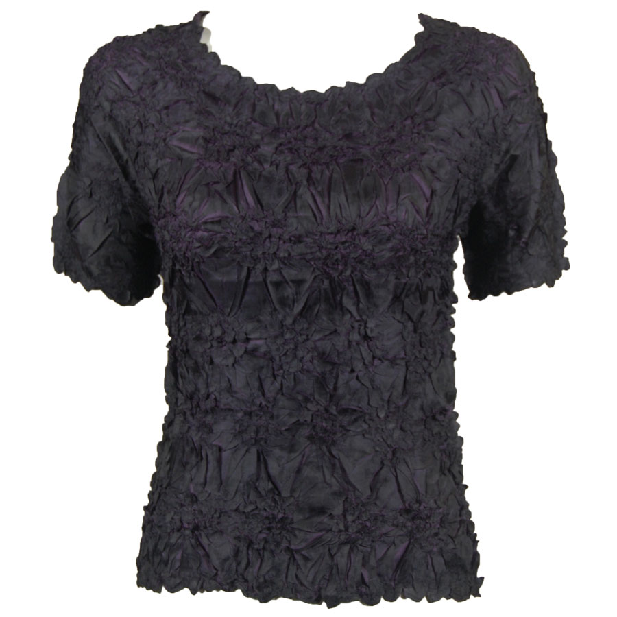 Wholesale Origami - Short Sleeve Black - Plum - Queen Size Fits (XL-3X)