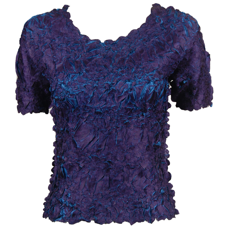 Wholesale Origami - Short Sleeve Deep Purple - Steel Blue - Queen Size Fits (XL-3X)