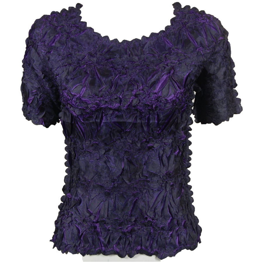 Wholesale Origami - Short Sleeve Black - Purple - Queen Size Fits (XL-3X)