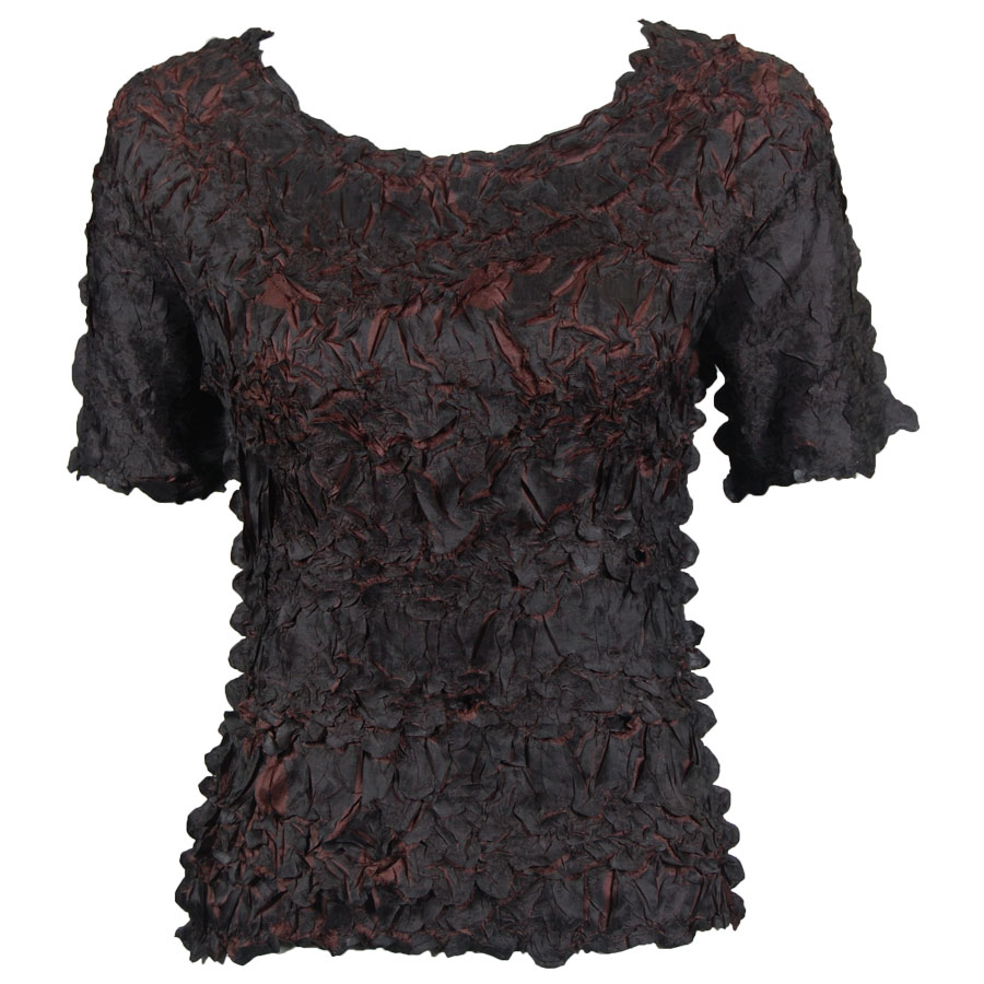 Wholesale Origami - Short Sleeve Black - Brown - Queen Size Fits (XL-3X)