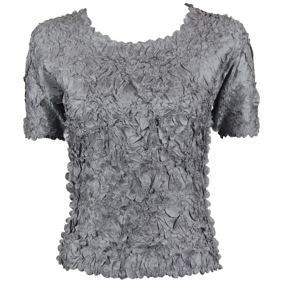 Wholesale Origami - Short Sleeve Solid Pewter - Queen Size Fits (XL-3X)
