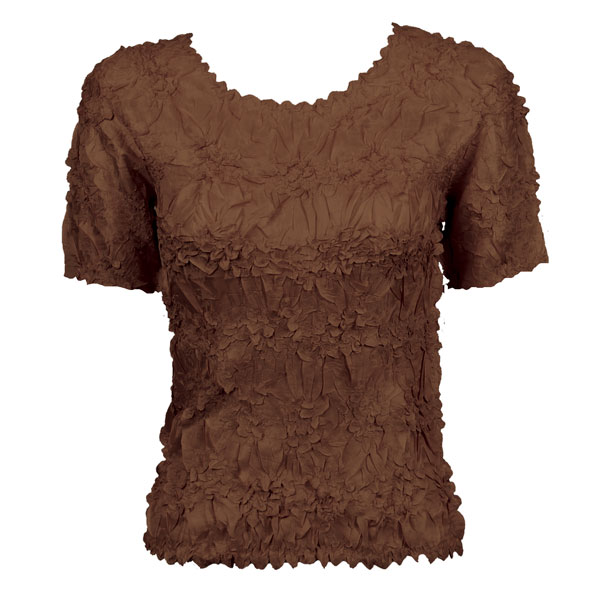 Wholesale Origami - Short Sleeve Solid Brown - Queen Size Fits (XL-3X)
