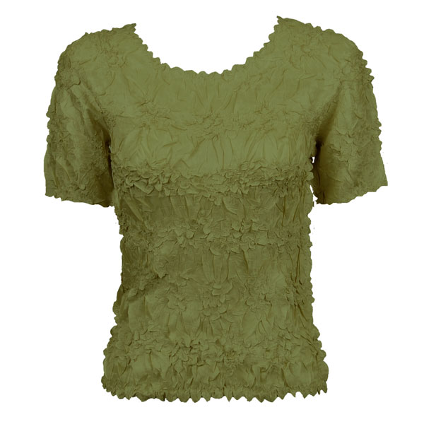 Wholesale Origami - Short Sleeve Solid Olive - Queen Size Fits (XL-3X)