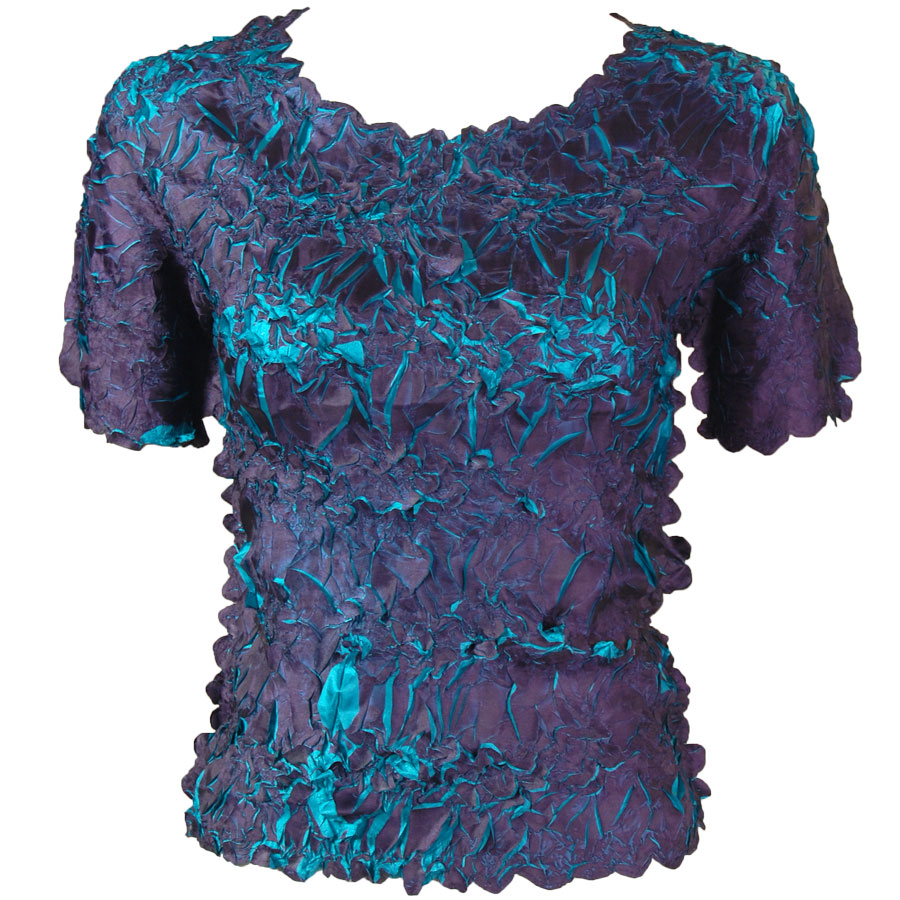 Wholesale Origami - Short Sleeve Dark Purple - Teal - One Size (S-XL)