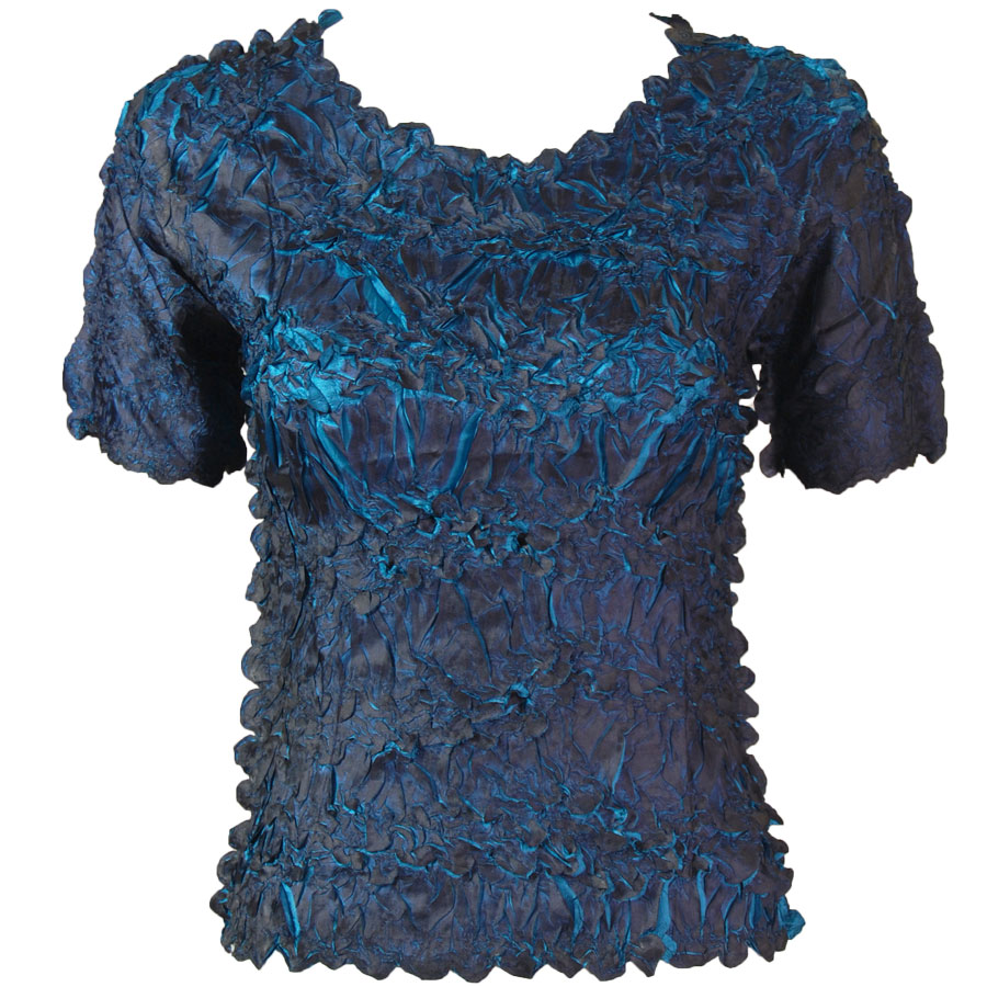 Wholesale Origami - Short Sleeve Dark Blue - Teal Blue - One Size (S-XL)