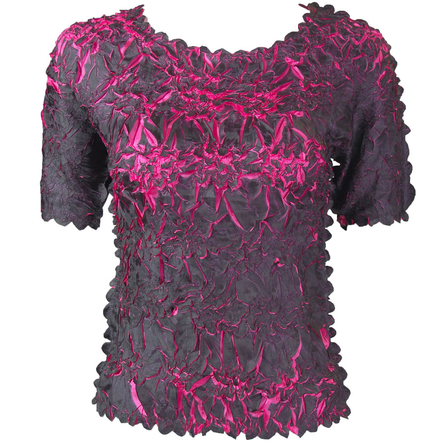 Wholesale Origami - Short Sleeve Black - Hot Pink - One Size (S-XL)