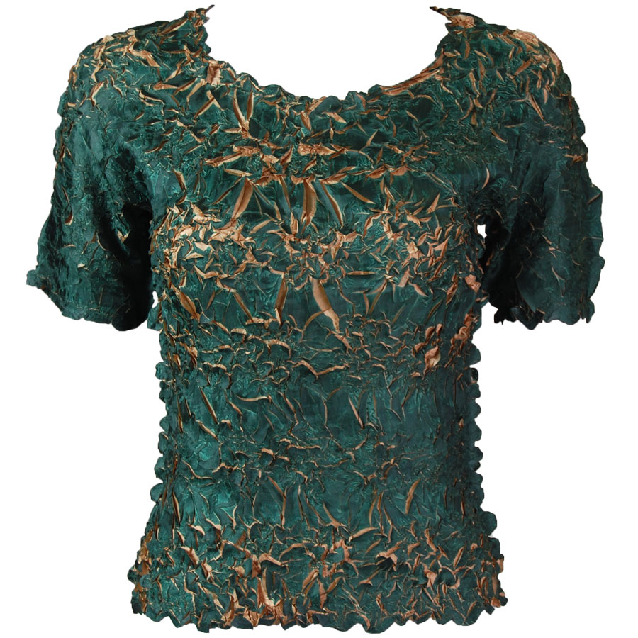 Wholesale Origami - Short Sleeve Dark Green - Gold - Queen Size Fits (XL-3X)