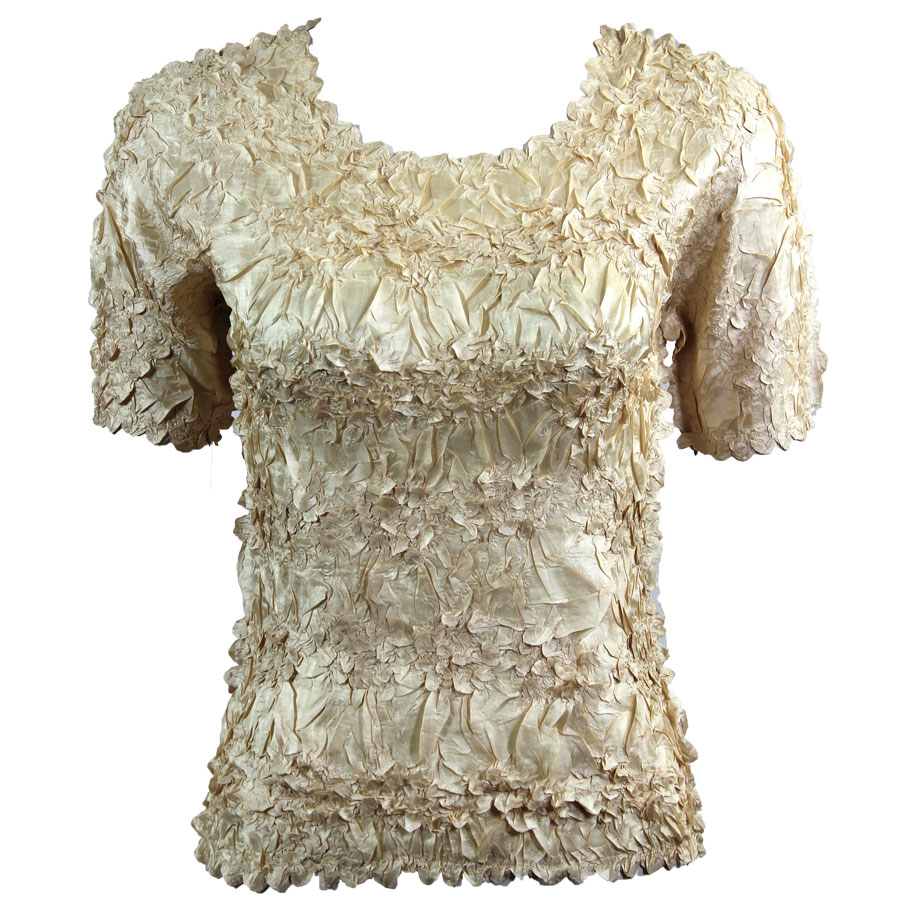 Wholesale Origami - Short Sleeve Solid Light Gold - One Size (S-XL)