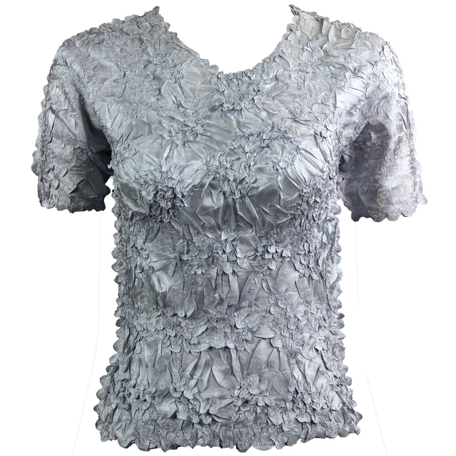 Wholesale Origami - Short Sleeve Solid Platinum - Queen Size Fits (XL-3X)