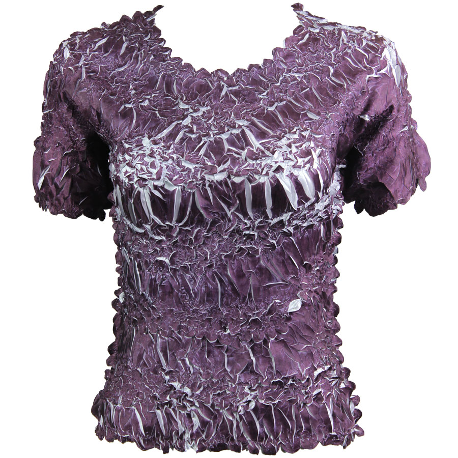 Wholesale Origami - Short Sleeve Purple - Platinum - Queen Size Fits (XL-3X)