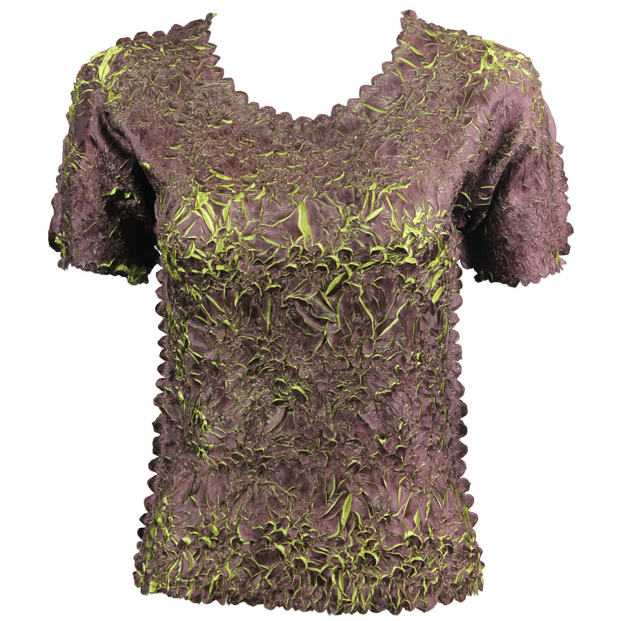 Wholesale Origami - Short Sleeve Purple - Green - Queen Size Fits (XL-3X)