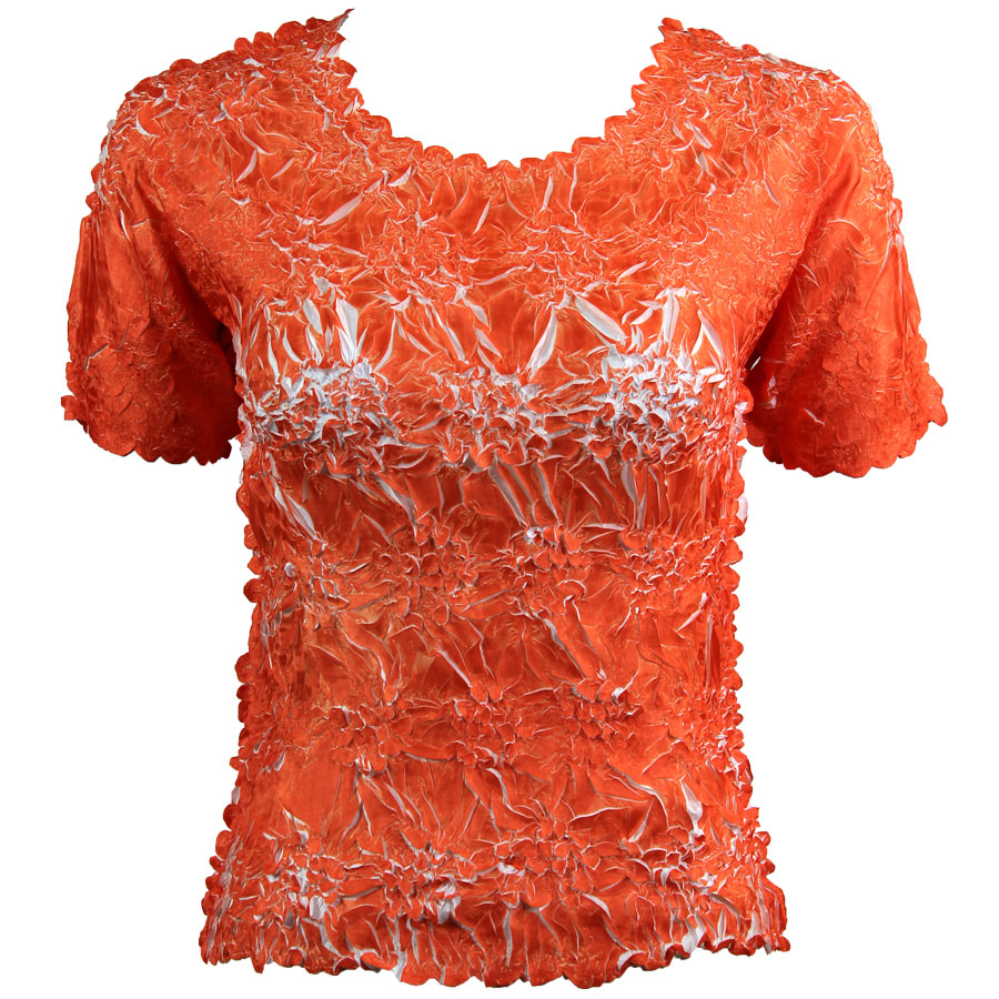 Wholesale Origami - Short Sleeve Orange - White - Queen Size Fits (XL-3X)