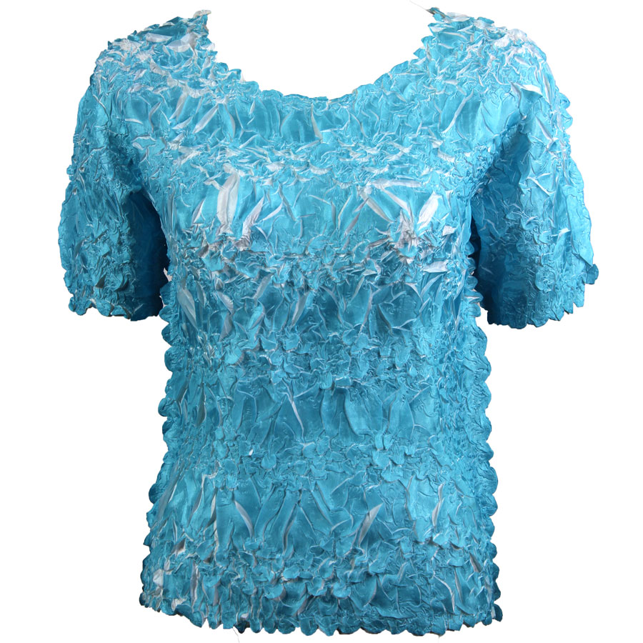 Wholesale Origami - Short Sleeve Turquoise - White - Queen Size Fits (XL-3X)