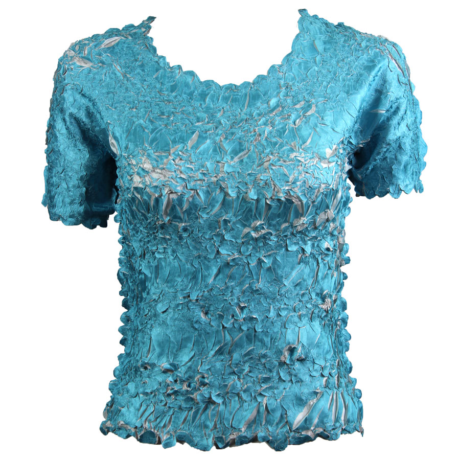 Wholesale Origami - Short Sleeve Turquoise - Pearl - Queen Size Fits (XL-3X)