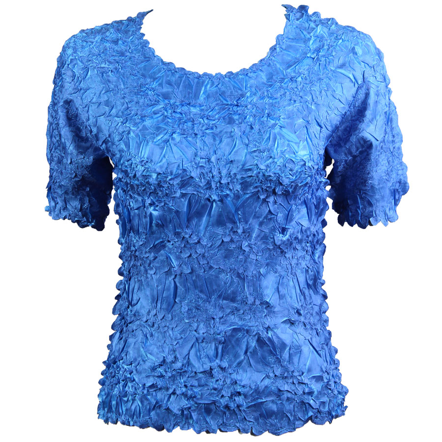 Wholesale Origami - Short Sleeve Denim - Azure - Queen Size Fits (XL-3X)