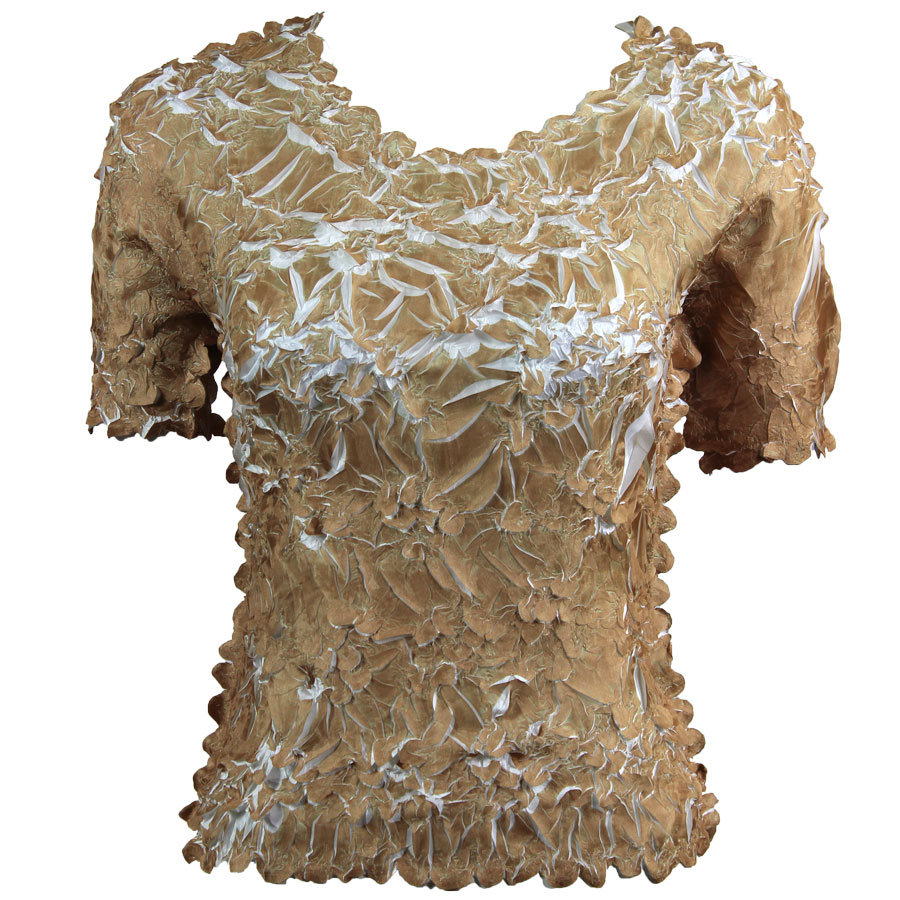 Wholesale Origami - Short Sleeve Gold - White - Queen Size Fits (XL-3X)