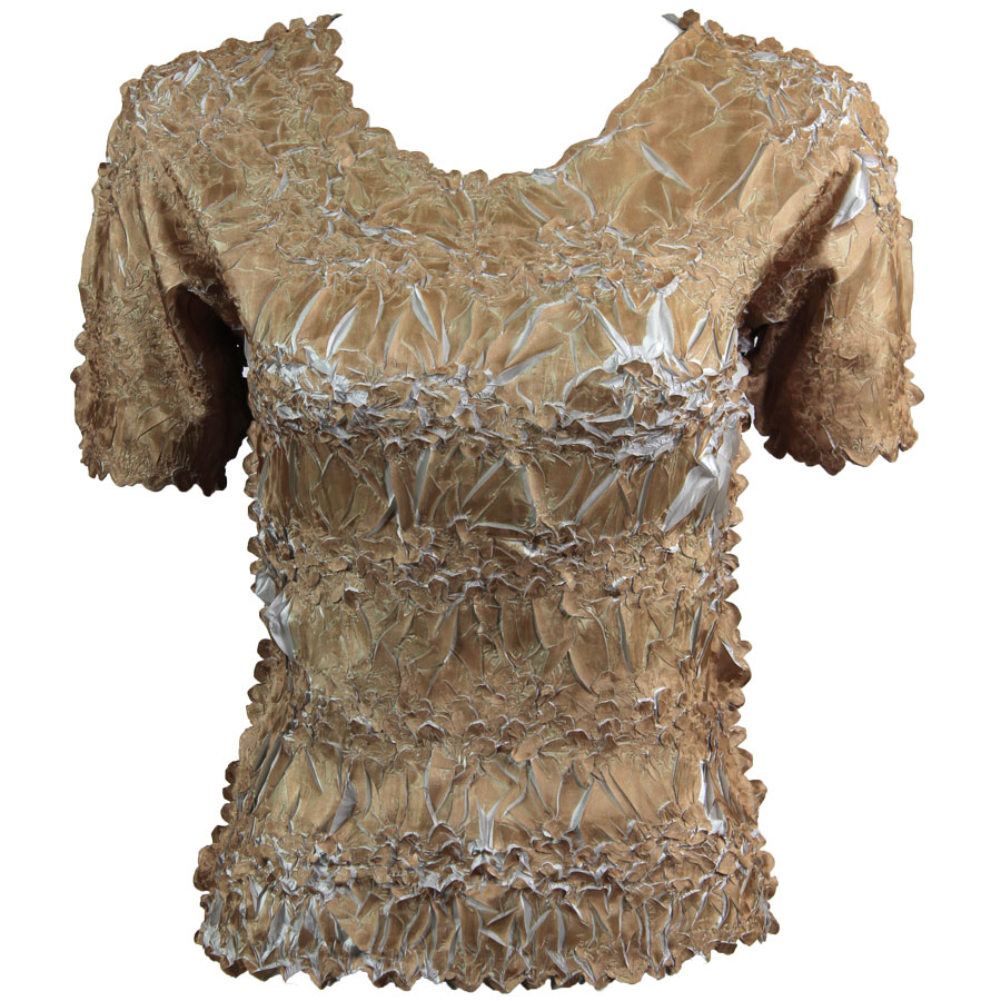 Wholesale Origami - Short Sleeve Gold - Pearl - Queen Size Fits (XL-3X)